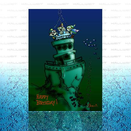 Grußkarte - Happy Birthday (Wrack)