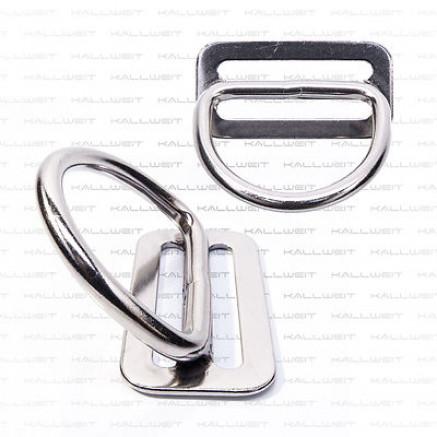 Gurtstopper mit D-Ring 45°, Billy Ring, 50mm, Edelstahl